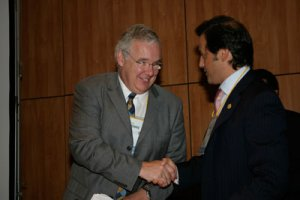 With Nigel Pitts, president of  the European Association of  Dental Public Health, during it's 9th Annual Meeting in Porto, Portugal (September  2004)