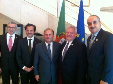 At the Portuguese Embassy. From left, Jean-Luc Eiselé (FDI executive director), myself, João Caetano da Silva (ambassador), Jaime Edelson and Victor Guerrero (both from the Mexican Dental Association and Local Organizing Committee)