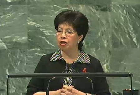 Dr Margaret Chan, World Health Organization (WHO) director general, speaking to the Assembly
