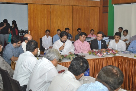 Participants and Dr. Dibyendu Mazumdar, president of Dental Council of India, at Dr. Shri Sudip Bandyopadhyay side