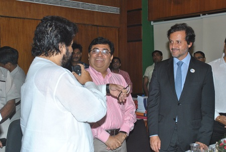 With Dr. Mahesh Verma (at my side), vice-president of Dental Council of India, and Dr. Shri Sudip Bandyopadhyay, minister