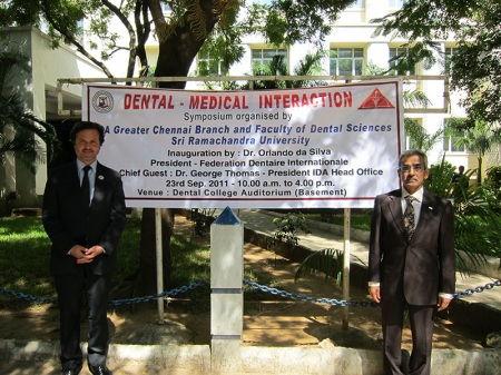 """At the Sri Ramachandra University for the symposium """"Dental - Medical Interaction"""", situated in Porur, Chennai, India. Was organised by IDA Greater Chennai Branch and Faculty of Dental Sciences Sri Ramachandra University. Here, I'm with George Thomas, IDA Head Office president."""