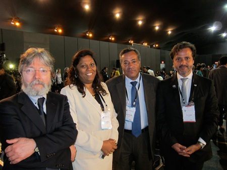 From left to right, with the Portuguese director-general of Health, Dr. Francisco George, the vice-minister of Health from Mozambique, the secretary of state for Health, Dr. Manuel Teixeira, and myself.