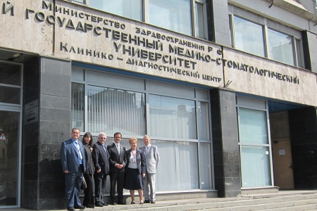 From left to right, António Cláudio, Elena Ivanova, professor from ERO/FDI Working Group Academic/Professional Relations, Solomon A. Rabinovich, professor and vice rector for academic activities and international affairs, Me and Alexandr V. Konarev, editor in chief of Stomatology International Dental Review.