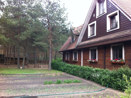 A typical Lithuanian architecture style on my way to Druskininkai.