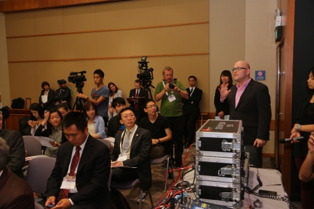Local and international media at the press conference.