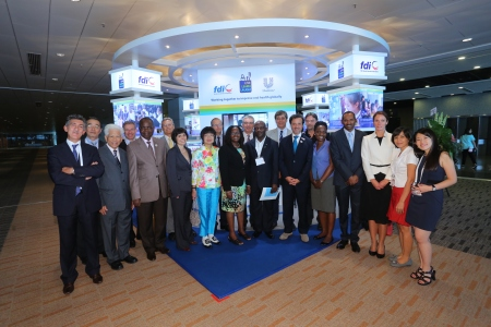 Group photo at the Unilever booth.