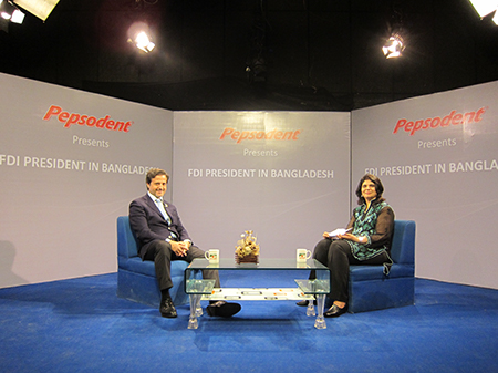 "TV interview focusing on the FDI as a century old organization, the ""Life. Learn. Laugh"" Program. The partners in Bangladesh are the Bangladesh Dental Society and Pepsodent."