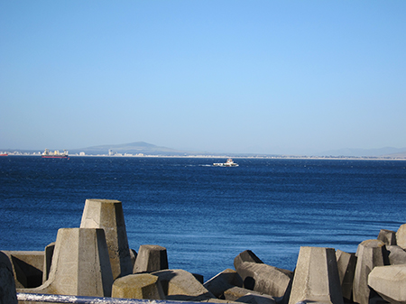 A view to Robben Island, from the harbour.