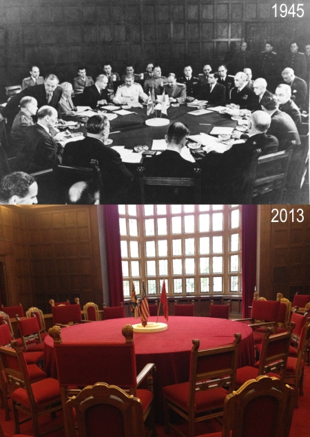 A picture of Potsdam Conference room. In 1945 and today.