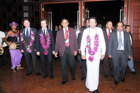 Arrival of the Sri Lanka minister of Health, Maithripala Sirisena, at the ceremonial inauguration.