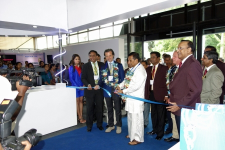 Opening of trade exhibition. With Rajitha Senaratne, minister of Fisheries, and Suresh Shanmuganathan, president of the Sri Lanka Dental Association.