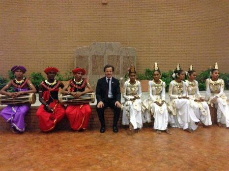 With local dancers.